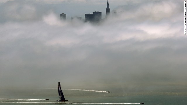 Heavy fog fills San Francisco Bay as seen from Sausalito, California, as the city's skyline struggles to peak through on May 28.