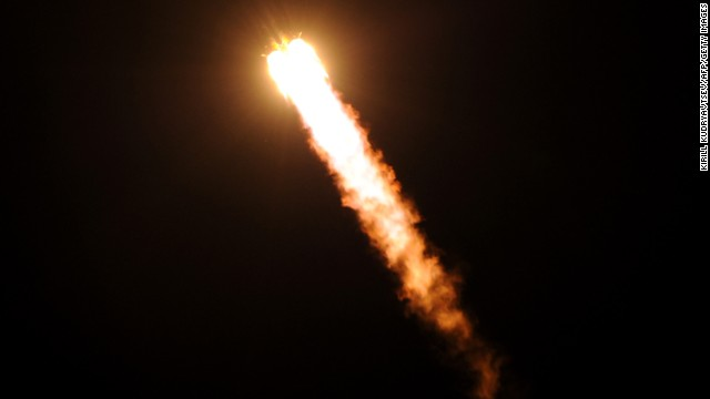 Russia's Soyuz TMA-09M spacecraft blasts off from the Baikonur Cosmodrome in Kazakhstan early on Wednesday, May 29. A Russian rocket carrying an international crew of U.S. astronaut Karen Nyberg, Russian cosmonaut Fyodor Yurchikhin and Italian astronaut Luca Parmitano launched from Kazakhstan and docked on the International Space Station. <a href='http://www.cnn.com/2012/10/23/world/gallery/iss-mission/index.html'>See photos from the last launch to and from the space station.</a>