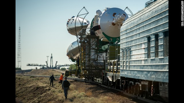 The spacecraft is rolled out by train to the launchpad on May 26.