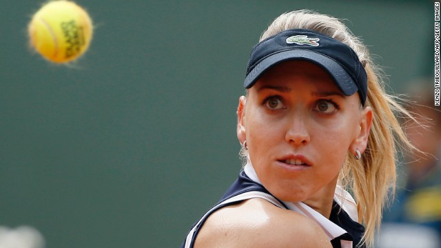 Russia's Elena Vesnina keeps track of the ball during her match against Belarus' Victoria Azarenka on May 29. Azarenka beat Vesnina 6-1, 6-4.