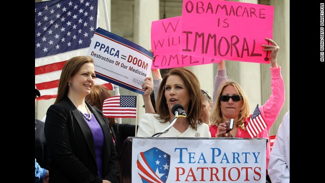 Bachmann addresses a rally with Tea Party Patriots national coordinator Jenny Beth Martin, left, in front of the U.S. Supreme Court in March 2012. The high court was hearing oral arguments on the constitutionality of the Patient Protection and Affordable Care Act, or Obamacare, which Bachmann has fiercely opposed.