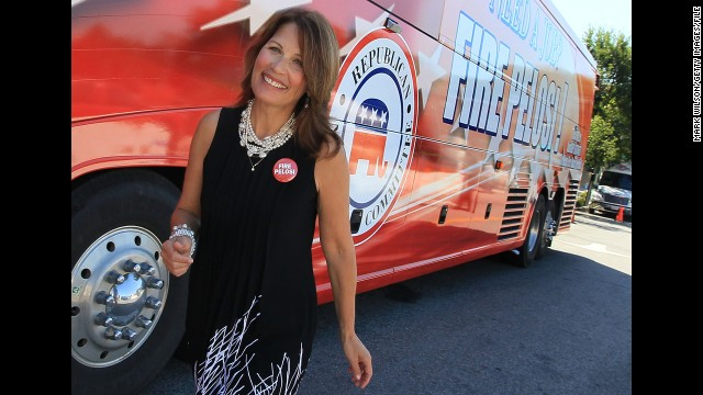 "Bachmann participates in the ""Fire Pelosi"" bus tour in September 2010. The Republican National Committee <a href='http://news.blogs.cnn.com/2010/03/22/gop-site-rallies-to-fire-pelosi-after-health-care-passes/'>launched the campaign</a> against then-House Speaker Nancy Pelosi following passage of the bill to overhaul health care."