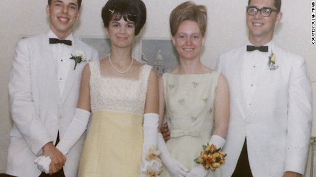 "1966: <a href='http://ireport.cnn.com/docs/DOC-605614'>Susan Train</a> says: ""The senior prom was a really big deal after four years of Catholic school uniforms; it was our night to shine. The hairstyles were up, the flowers were especially picked to go with the gowns and the white dinner jackets -- everyone was so beautiful and handsome that night. We wore white gloves and matching shoes -- every detail was thought out and selected for this special evening."""