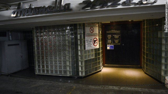 The front entrance of the Antonella 2012 strip bar in Caracas is pictured on May 28.