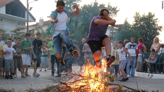 During the Greek solstice celebration Klidonas, bachelors across the country try to impress single ladies by building tall fires and jumping over them. According to custom, anyone who jumps the flames three times is rewarded with a good year ahead but more importantly a likely date for the evening.