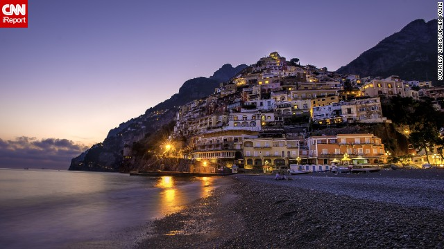 The Italian village of Positano spills from the cliffs onto the beach. Christopher Foltz, who shot this photo, said it's his favorite town in the whole country.