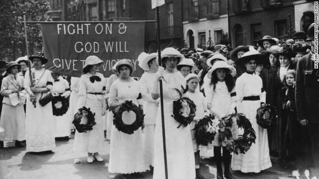 The Suffragettes -- who campaigned for womens' right to vote -- had a distinctive style, pictured here wearing white flowing dresses and black arm bands at Davison's funeral procession. They wore purple, white and green sashes -- purple symbolized dignity, white represented purity, and green stood for hope.