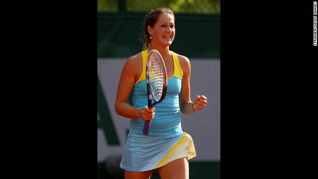 Bojana Jovanovski of Serbia celebrates match point against Caroline Wozniacki of Denmark on May 29.