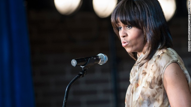 In Chicago, first lady says she's proud of her background