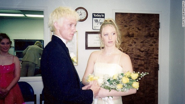 "2002: <a href='http://ireport.cnn.com/docs/DOC-774705'>Megan Mavis</a> liked her prom date, Ryan, so much, she married him in a Las Vegas courthouse that very night, before he went off to boot camp. She says, ""We are looking forward to our 10-year anniversary party, but this time, there's no secret. We're in love and we want everyone to celebrate with us!"""
