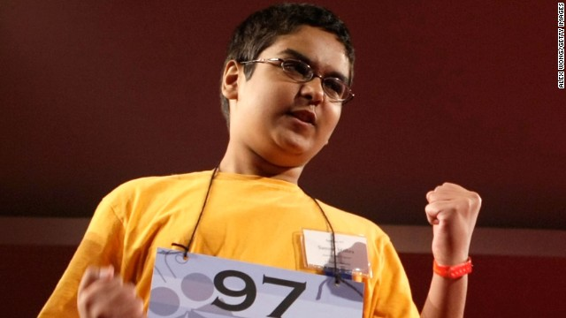 "Sameer Mishra won in 2008 with the word ""guerdon,"" which is a reward or recompense."