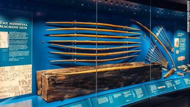 More than 130 medieval longbows have been recovered from the<i> </i>Mary Rose. These are the only ones in existence from the time and their length demonstrates that an archer could pull more than twice as much weight as was previously thought possible.