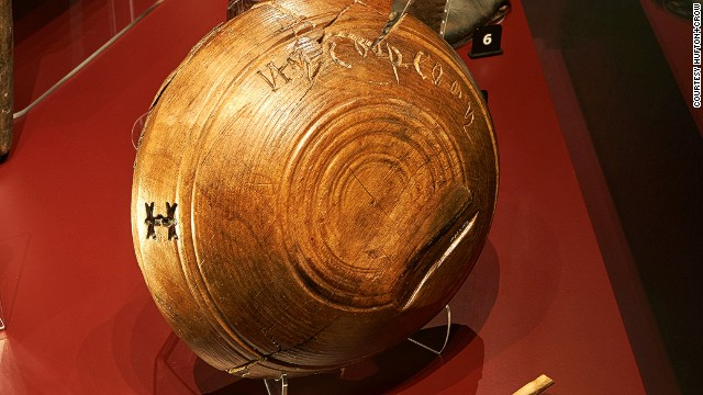 The Mary Rose didn't carry a list of names, just numbers, but this wooden bowl has been engraved with what is thought to be a name -- Ny Coop. He's believed to have been the ship's cook and would have been responsible for feeding more than 400 men several times a day and preparing elaborate meals for the officers.