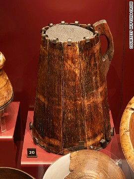 Due to the difficulty of storing safe drinking water, one gallon of ale was allocated per crew member per day. Henry VIII built four brew houses in Portsmouth to supply his fleet. The remains of 17 relatively complete wooden drinking tankards, like the one pictured, have been recovered.