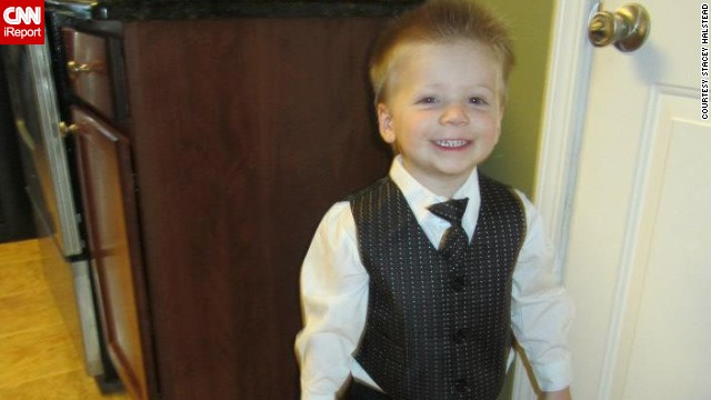 One week before the accident in late October, Tripp stands tall in his new suit and tie.