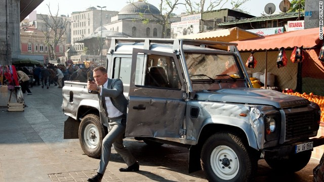 "The car that star is in can be battered, shot at, smashed into and even rammed. But it will never stall or stop running during the high-speed action. Note the damage to the vehicle Daniel Craig (as James Bond) hops out of in ""Skyfall."""
