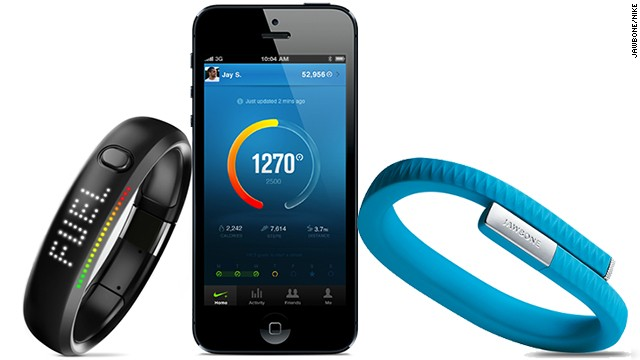 These tracking devices are worn on the wrist and sync your progress with mobile apps. The <a href='https://jawbone.com/up' target='_blank'>Nike+ Fuel Band</a> lets you connect with friends and see a leaderboard to compare progress.