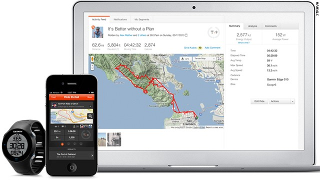 <a href='http://www.strava.com' target='_blank'>Strava</a> connects with GPS-enabled devices such as the iPhone, Android phones, and Garmin trackers. Compare how you do on a specific segment of a road against other athletes who run or bike the same spot, create clubs and take part in challenges with friends. It's free to join, and an optional premium membership adds more features.