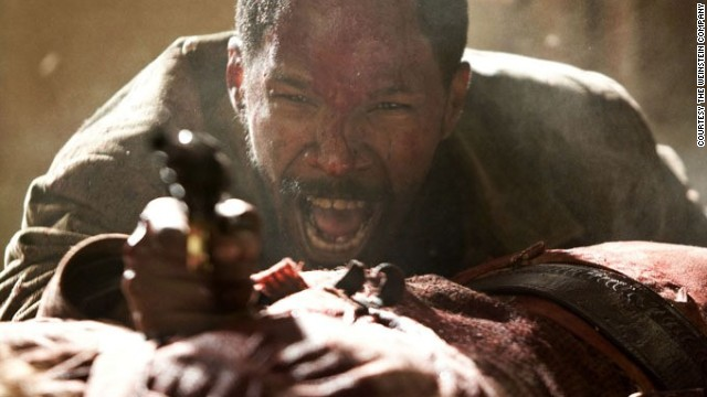 "The bad guys can fire at the star multiple times with everything from a six-shooter to an automatic, but they won't get him. Said star will, however, take out a villain with one shot. Here, Jamie Foxx stars as Django in ""Django Unchained."""
