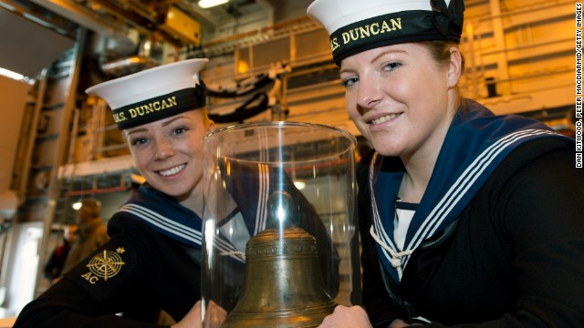 Able Seaman Fiona MacLennan, left, and Able Seaman Megan Ryan attend the opening ceremony aboard HMS Duncan, the latest Type 45 destroyer.