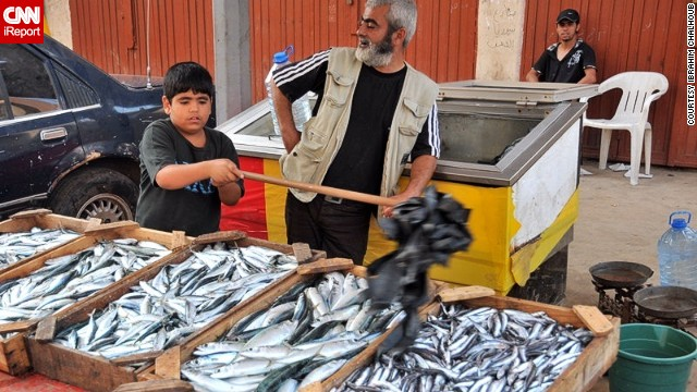 A child waves flies away from a fish seller's stall in a Tripoli market.