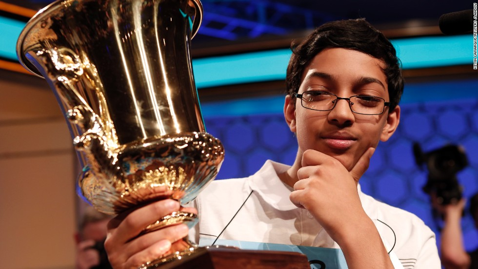 """Arvind Mahankali, a 13-year-old from Bayside Hills, New York, won the Scripps National Spelling Bee, spelling """"knaidel,"""" a dumpling, on May 30. Definitions for the words spelled were taken from Merriam-Webster. <a href='http://www.cnn.com/2013/05/29/living/gallery/spelling-bee-champions/index.html' target='_blank'>Take a look back at previous winners</a>."""