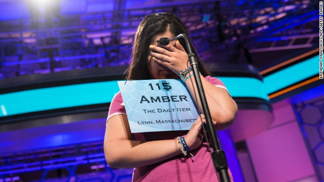 "Amber Born, representing Massachusetts, misspelled ""hallali,"" a huntsman's bugle call, during the championship round on May 30."