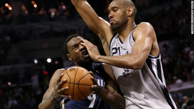 Tim Duncan gets physical with the Memphis Grizzlies' Tony Allen during the Western Conference Finals this month. The Spurs won the series 4-0 to advance to the NBA Finals for the fifth time in Duncan's career.