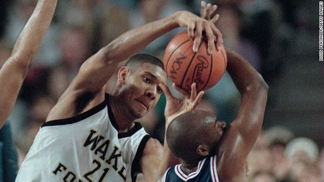 Duncan, seen here during his college days covering an opponent from St. Louis, was the the first player taken in the 1997 NBA Draft. He graduated from Wake Forest before entering.