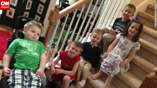 "In April, Tripp has a playdate with his cousins. ""I think he likes them being here. He is even moving his mouth like he wants to smile!"" Halstead writes in one of her Facebook posts."