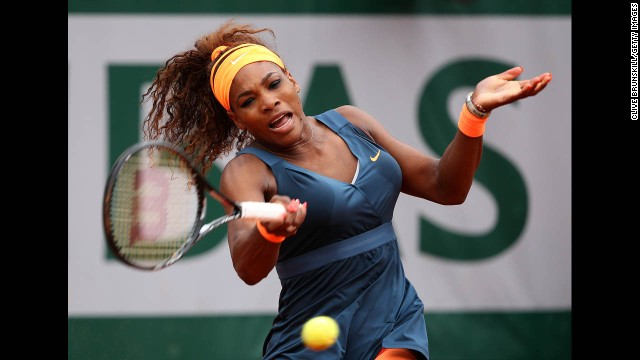 Serena Williams of the United States plays a forehand against Sorana Cirstea of Romania on May 31. Williams won 6-0, 6-2.