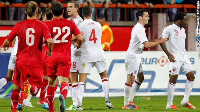 The Serbian Football Association was hit with an $84,000 fine after a brawl between their under-21 team and England's in the city of Krusevac in October 2012. England player Danny Rose (far right) said he had been subjected to monkey chants throughout the game. The Serbian FA insisted their fine was for the altercation.
