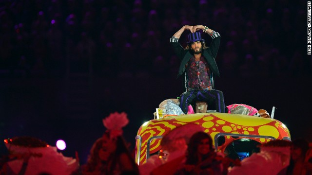 Brand performs during the closing ceremony of the 2012 London Olympic Games on August 12, 2012.