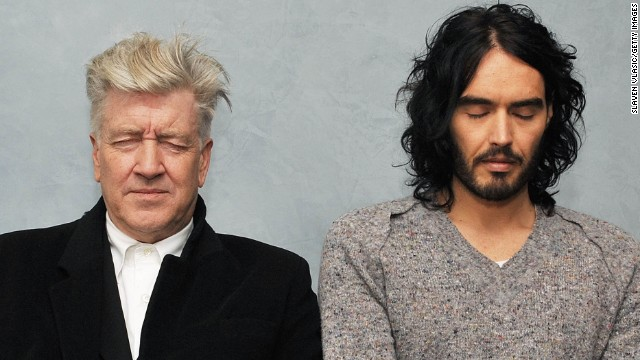 Director David Lynch and Brand meditate at The Paley Center for Media on December 13, 2010, in New York.