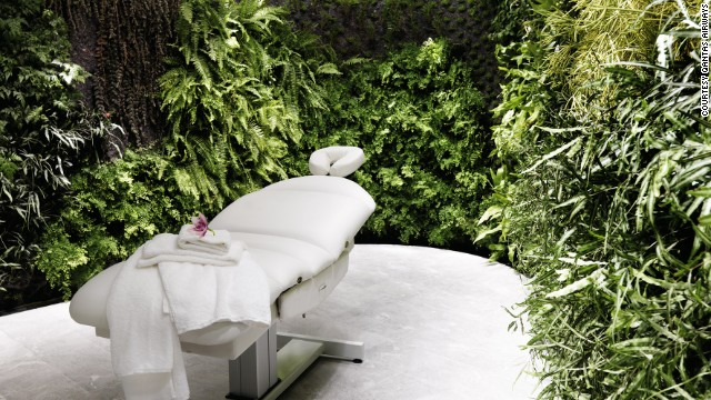 Qantas provides first and business class customers in Sydney and Melbourne with a lush spa experience.