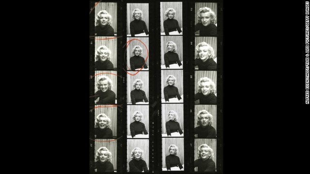 Circled photos on a black and white contact sheet show editor's choices from photographer Alfred Eisenstaedt's 1953 photo shoot.