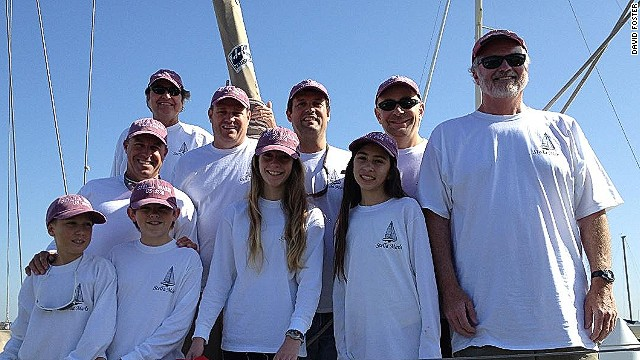 Sailing team are all smiles in Ensenada after completing the race. (Left to right) Jake Mayol, Erik Mayol, Cole Pomeroy, Rick McCredie, Karl Pomeroy, Laurel Foster, David Foster, Sammy Pickell, Rob Pickell and skipper Tom Madden