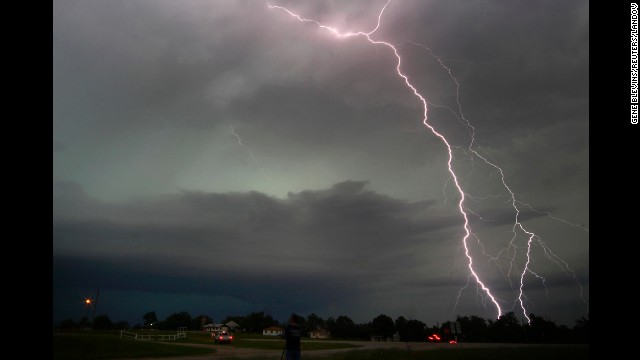 Lightning from a tornadic thunderstorm strikes in Cushing, Oklahoma, on May 31.