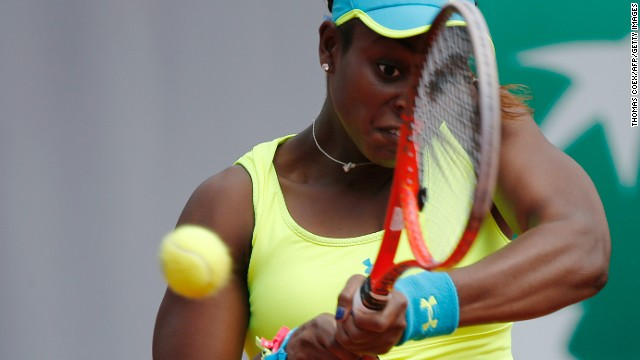Sloane Stephens of the United States returns a shot to New Zealand's Marina Erakovic on June 1.