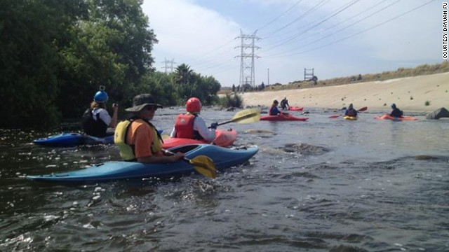Kayakers enjoy a day on the Los Angeles River.