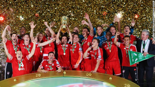 Bayern's 3-2 victory over Stuttgart in the final made the Bavarian side the first from Germany to win a treble in one season, having romped to victory in the Bundesliga before winning the Champions League.