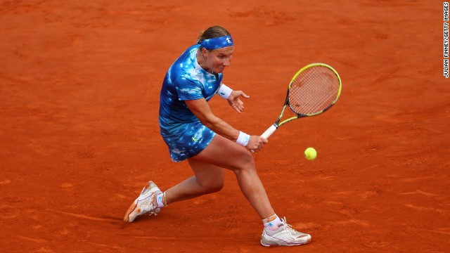 Kuznetsova hits a backhand during her match against Kerber on June 2.