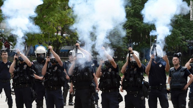 Riot police fire tear gas during a protest against Turkey's Prime Minister Recep Tayyip Erdogan and his ruling AK Party in central Ankara on June 2. Sparked by the events in Istanbul, general anti-government protests have sprung up in Ankara.
