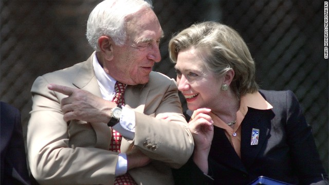 "Lautenberg speaks with first lady Hillary Clinton on July 17, 2000, during a ""Save America's Treasure"" event on Ellis Island in New York."