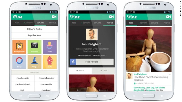 Vine, Twitter's app that lets you shoot and share 6-second videos, is available for Android phones and iPhones.