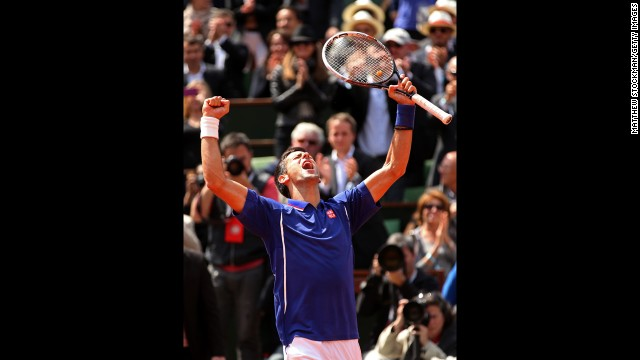 Djokovic celebrates match point against Kohlschreiber on June 3. Djokovic defeated Kohlschreiber 4-6, 6-3, 6-4, 6-4.