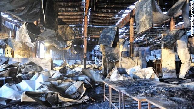 The interior of the poultry slaughterhouse is left in ruins.