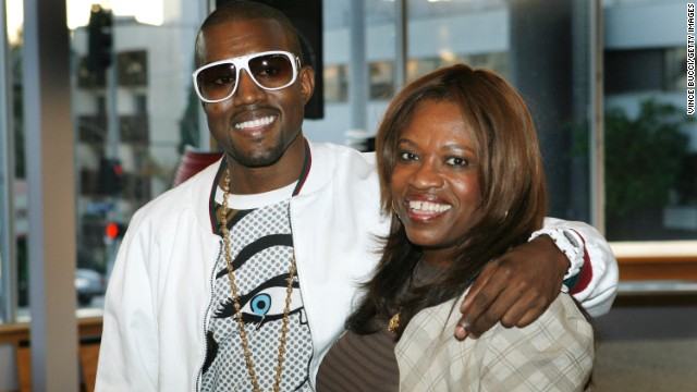 "The rapper was very close to his mother, teacher and author Donda West, who died after surgery in 2007. He may want to pay tribute to her as she was extremely influential in his life and inspired his song ""Hey Mama."" Here the pair appear at a signing for her book, ""Raising Kanye: Life Lessons from the Mother of a Hip-Hop Superstar"" in Los Angeles in 2007."