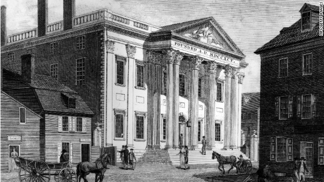 McCulloch v. Maryland (1819): In response to the federal government's controversial decision to institute a national bank in the state, Maryland tried to tax the bank out of business. When a federal bank cashier, James W. McCulloch, refused to pay the taxes, the state of Maryland filed charges against him. In McCulloch v. Maryland, the Supreme Court ruled that chartering a bank was an implied power of the Constitution. The first national bank, pictured, was created by Congress in 1791 in Philadelphia.