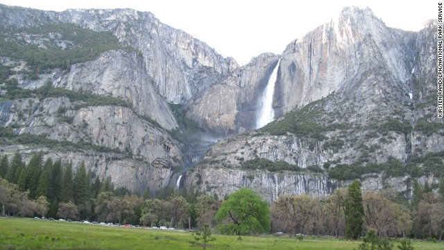Enjoy the breathtaking view of Yosemite Falls, seen here from Cook's Meadow in the spring.